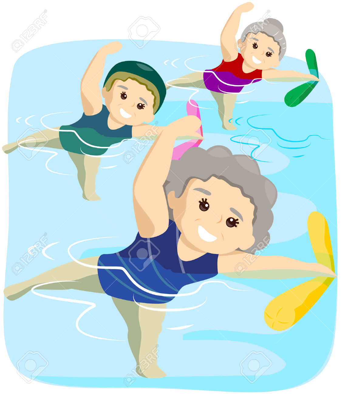 4090183-Water-Exercise-for-Seniors-with-Clipping-Path-Stock-Vector-swimming